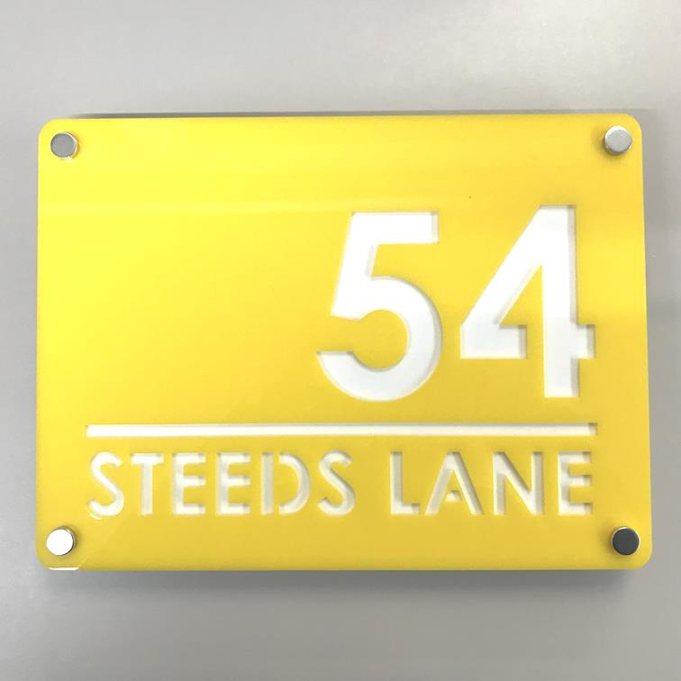 Large Rectangular House Number & Street Name Sign - Yellow & White Gloss Finish