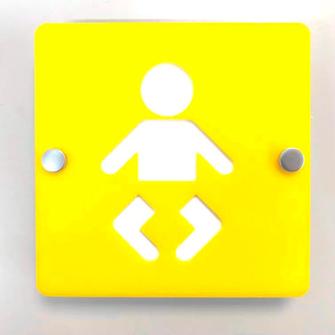 Square Baby Changing Toilet Sign - Yellow & White Gloss Finish