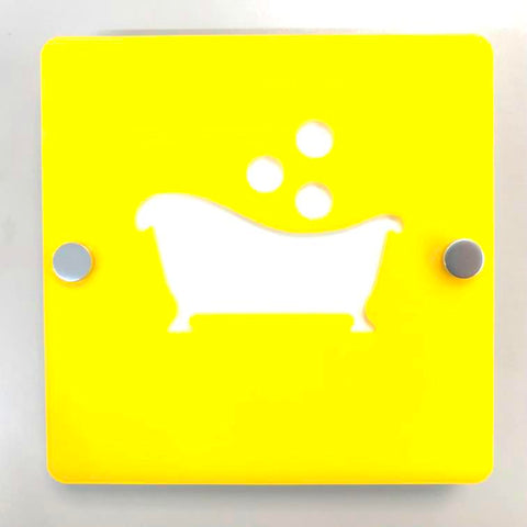 "Square Bathroom ""Bath & Bubbles"" Sign - Yellow & White Gloss Finish"