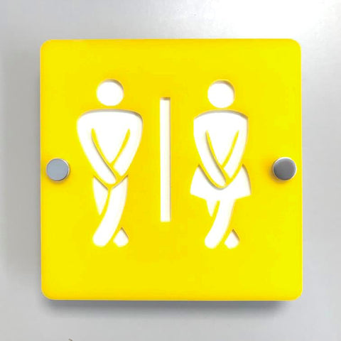 Square Crossed Legged Male & Female Toilet Sign - Yellow & White Gloss Finish