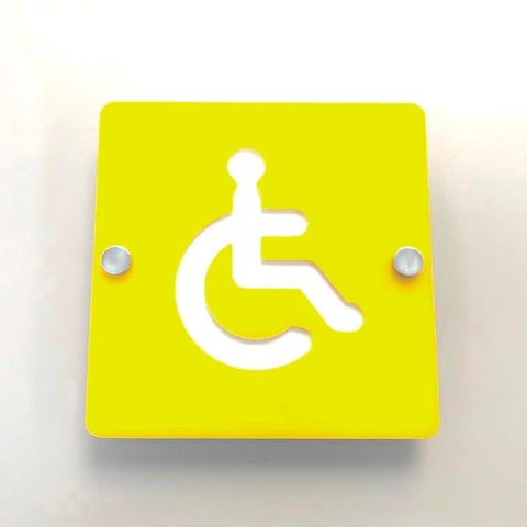 Square Disabled Toilet Sign - Yellow & White Gloss Finish