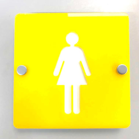 Square Female Toilet Sign - Yellow & White Gloss Finish