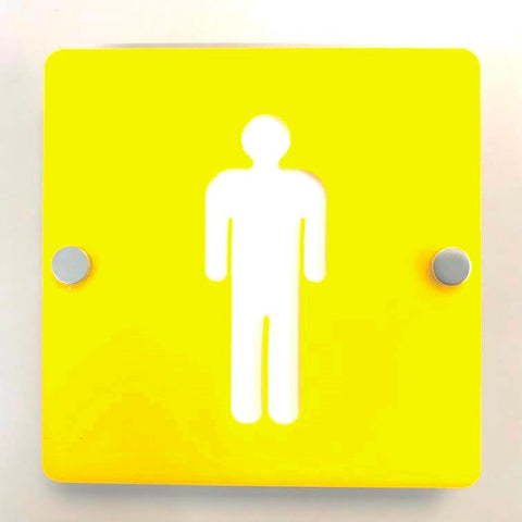 Square Male Toilet Sign - Yellow & White Finish
