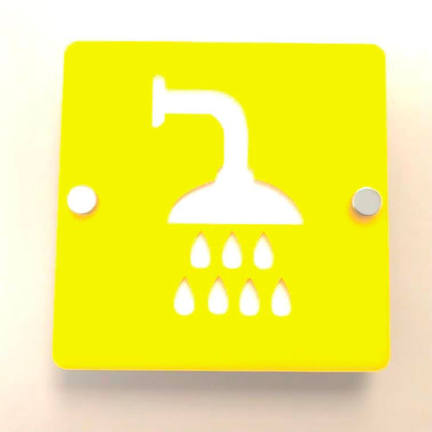 Square Shower Sign - Yellow & White Gloss Finish