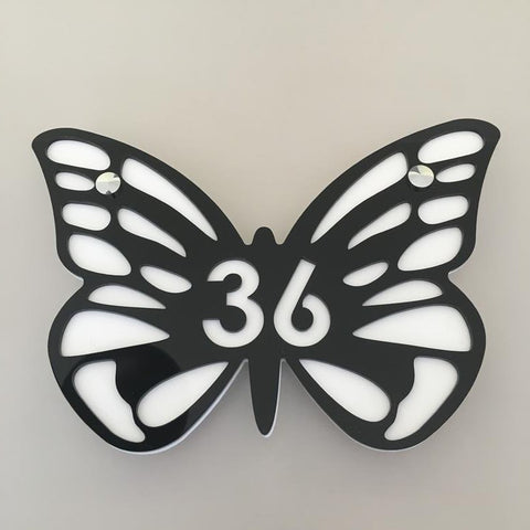 Butterfly House Number Sign - Black & White Gloss Finish