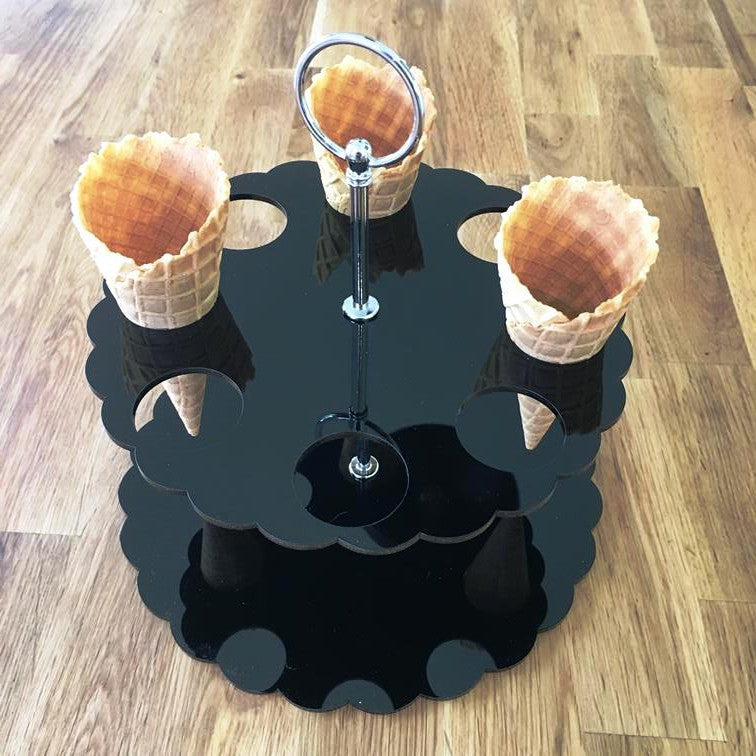 Ice Cream Cone Stand - Black