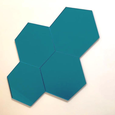 Hexagon Tiles - Blue Mirror