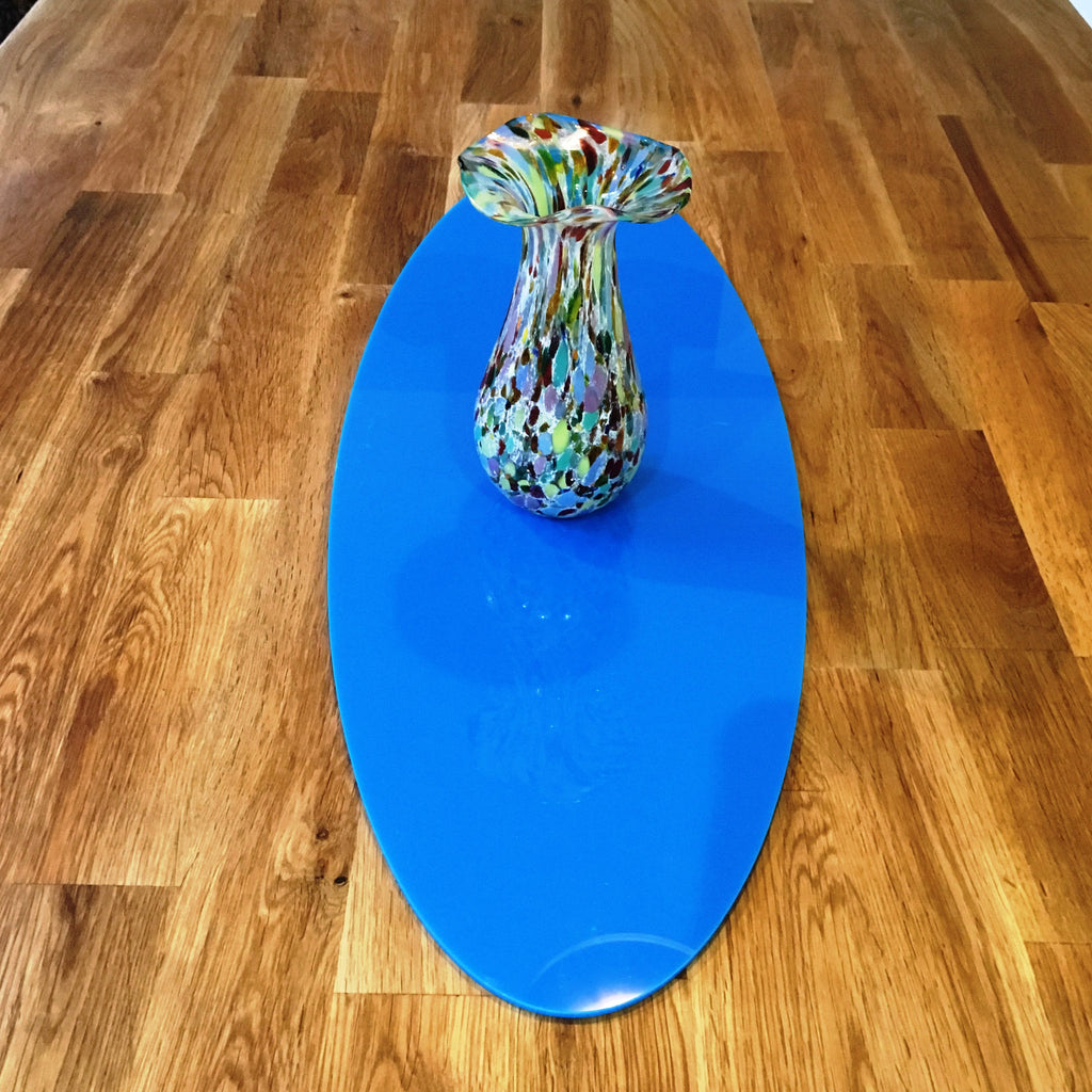 Bright Blue Oval Acrylic Table Runner
