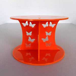 Butterfly Design Round Wedding/Party Cake Separator - Orange