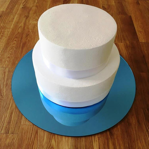 Round Cake Board - Blue Mirror