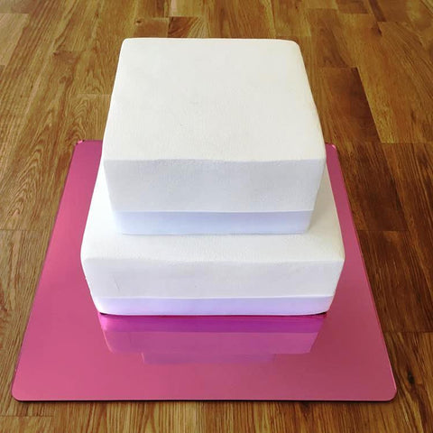 Square Cake Board - Pink Mirror