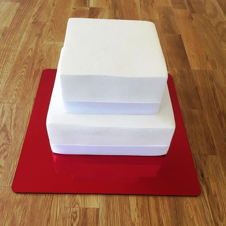 Square Cake Board - Red Mirror