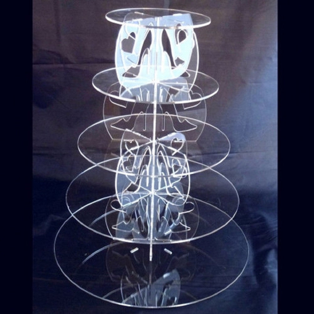 Five Tier High Heel and Heart Design Round Cake Stand