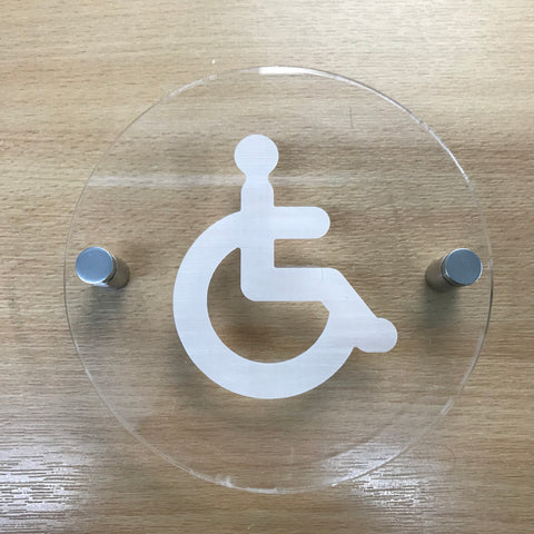 Round Engraved Disabled Toilet Sign - Clear Gloss Finish