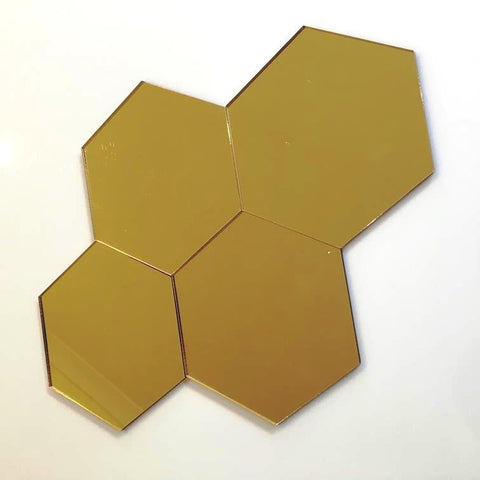 Hexagon Tiles - Gold Mirror
