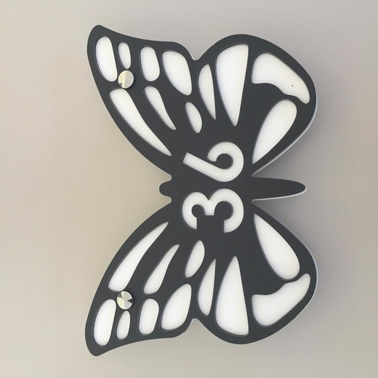 Butterfly House Number Sign - Graphite & White Matt Finish