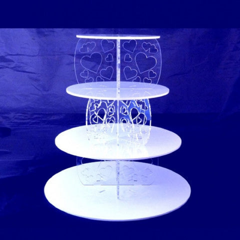 Four Tier Heart Design Round Cake Stand
