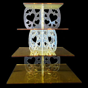 Four Tier Heart Design Square Cake Stand
