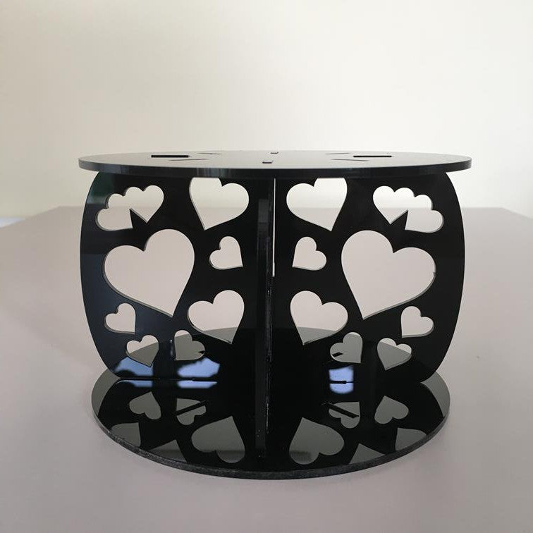Heart Design Round Wedding/Party Cake Separator - Black