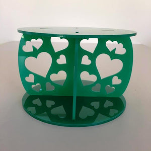 Heart Design Round Wedding/Party Cake Separator - Green