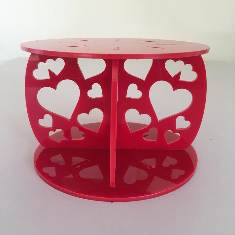 Heart Design Round Wedding/Party Cake Separator - Red