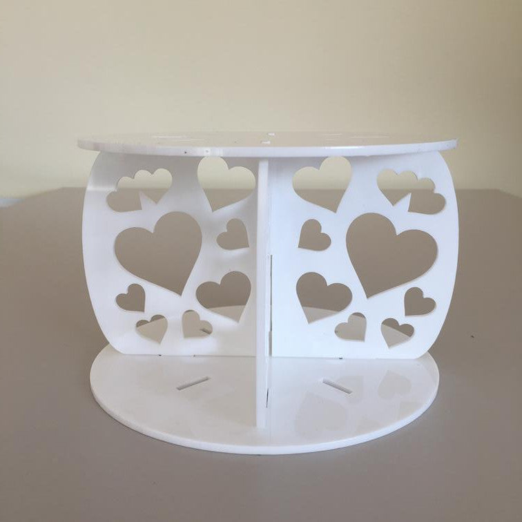 Heart Design Round Wedding/Party Cake Separator - White