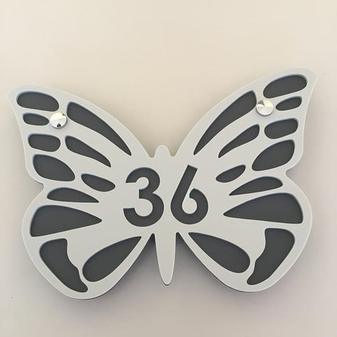 Butterfly House Number Sign - Light Grey & Graphite Matt Finish