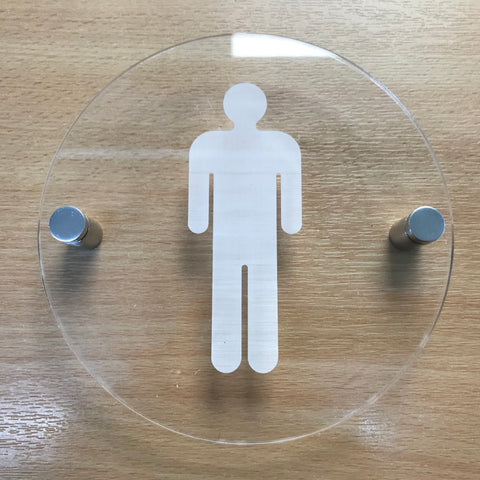 Round Engraved Male Toilet Sign - Clear Gloss Finish
