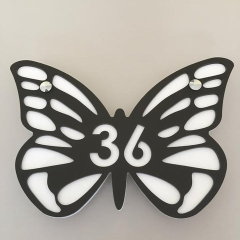 Butterfly House Number Sign - Mocha & White Matt Finish