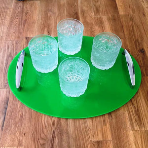 Oval Serving Tray with Handle - Bright Green