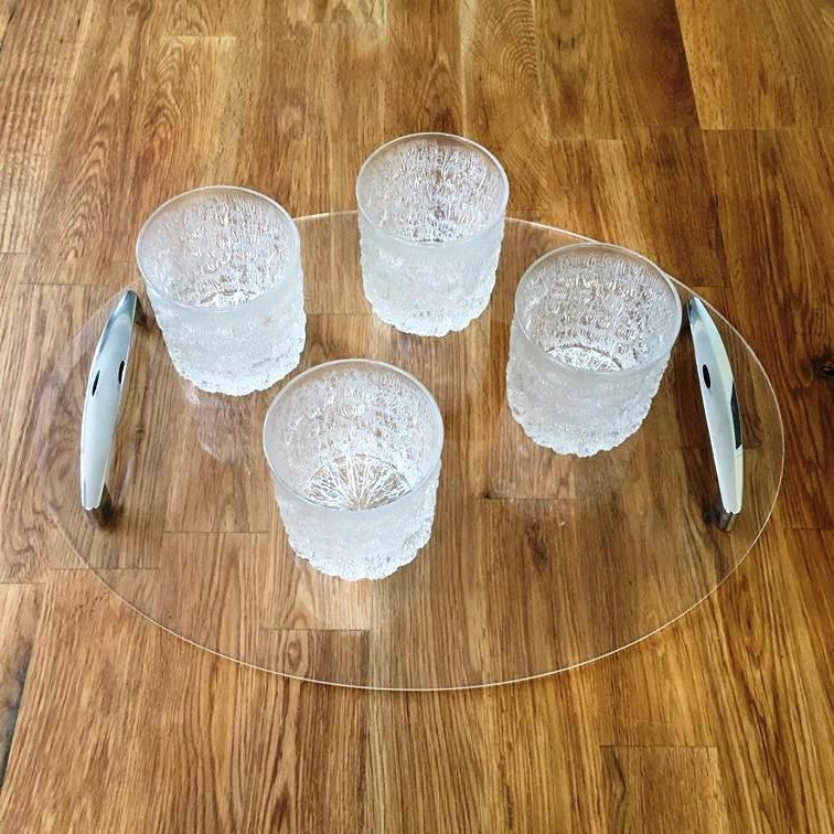 Oval Serving Tray with Handle - Clear