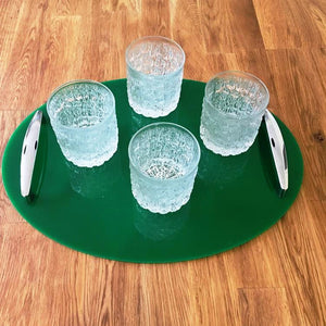 Oval Serving Tray with Handle - Green
