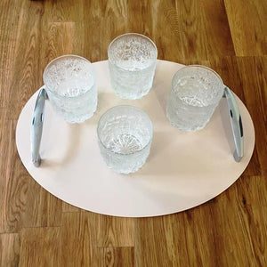 Oval Serving Tray with Handle - Latte