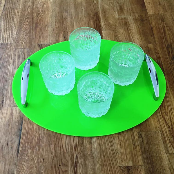Oval Serving Tray with Handle - Lime Green