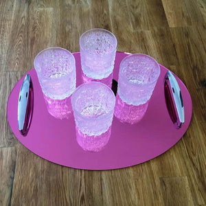 Oval Serving Tray with Handle - Pink Mirror