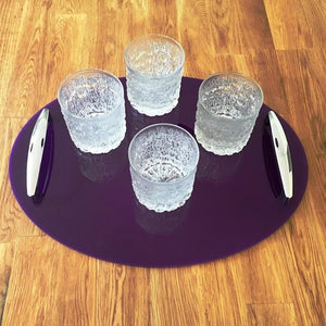Oval Serving Tray with Handle - Purple