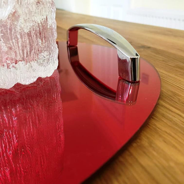 Oval Serving Tray with Handle - Red Mirror