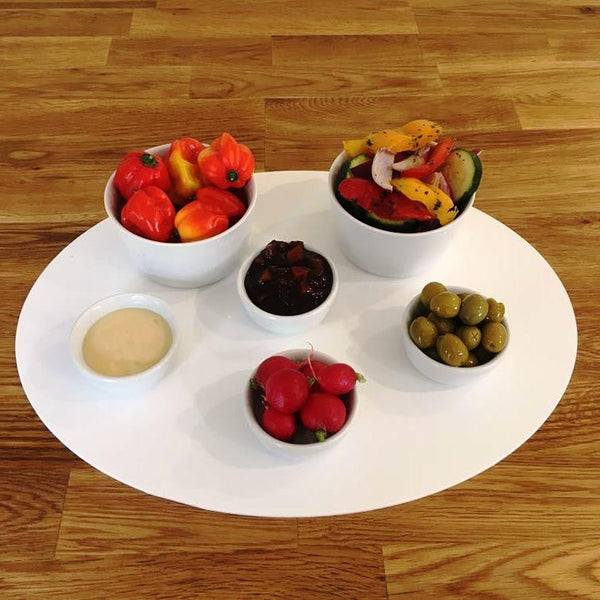 Oval Serving Mat/Table Protector - White Gloss