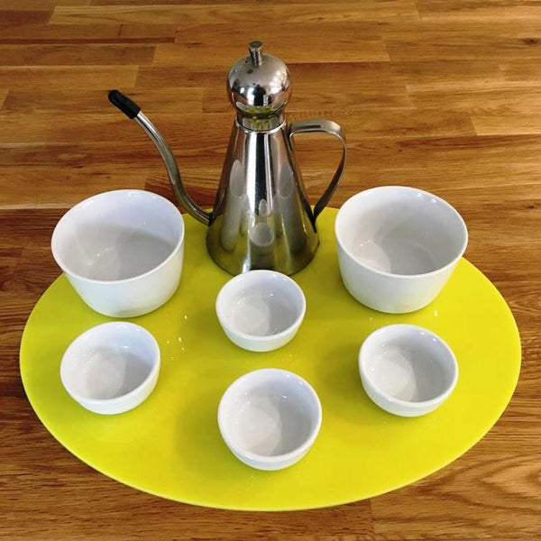 Oval Serving Mat/Table Protector - Yellow Gloss
