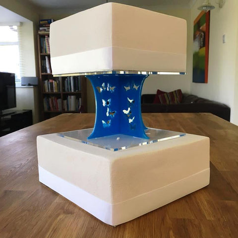 Cake Pillars Square Butterfly - Bright Blue