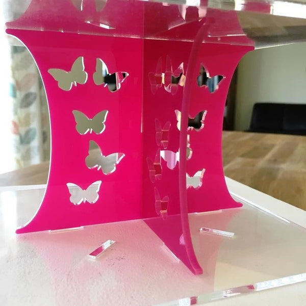 Cake Pillars Square Butterfly - Pink