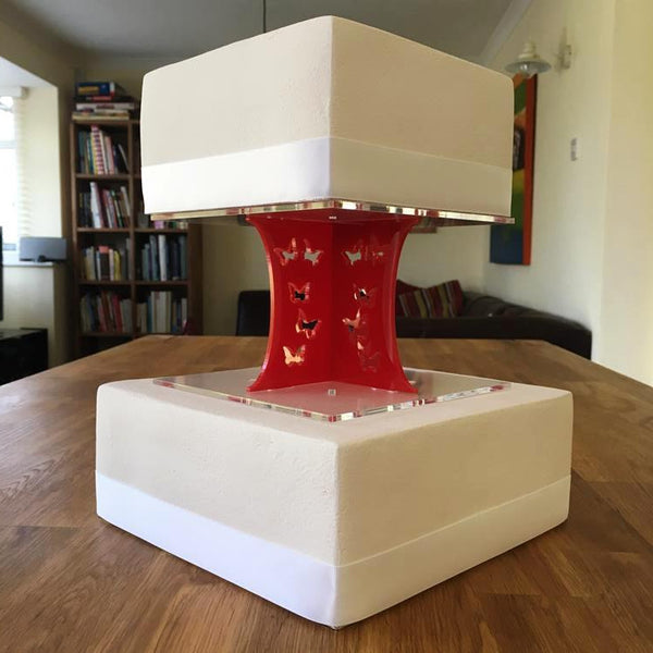 Cake Pillars Square Butterfly - Red