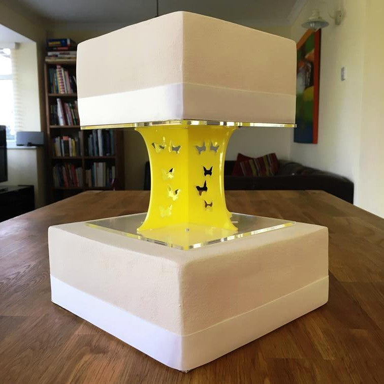 Cake Pillars Square Butterfly - Yellow