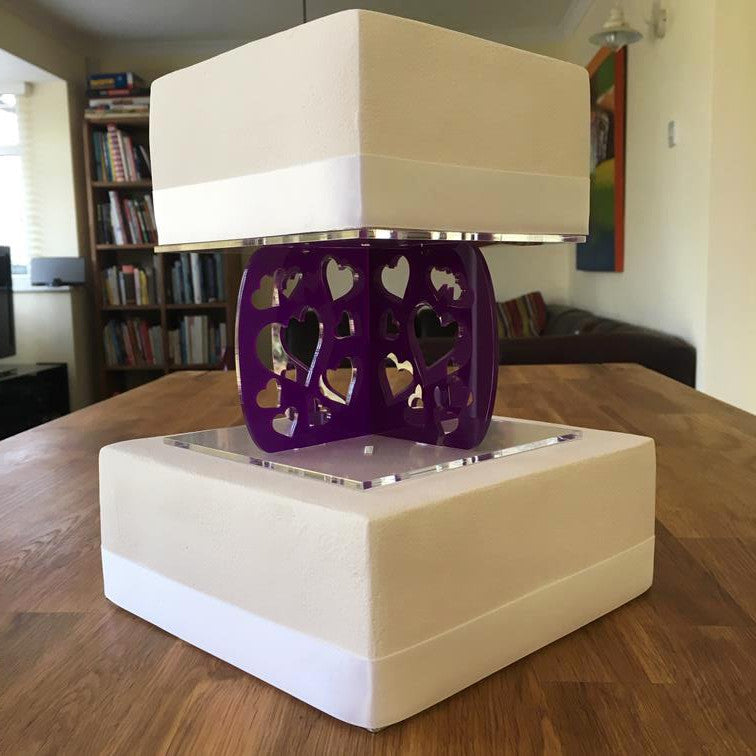 Cake Pillars Square Heart - Purple