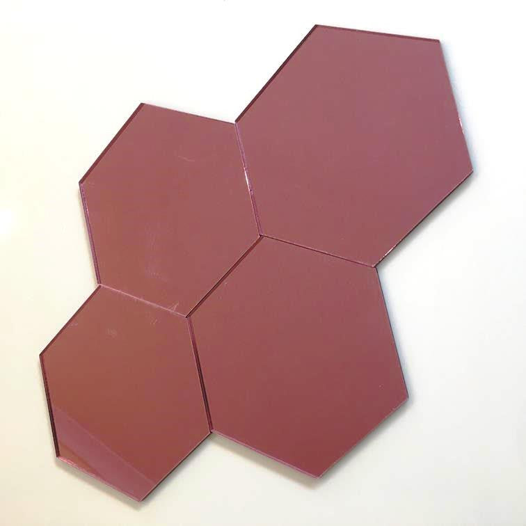 Hexagon Tiles - Pink Mirror