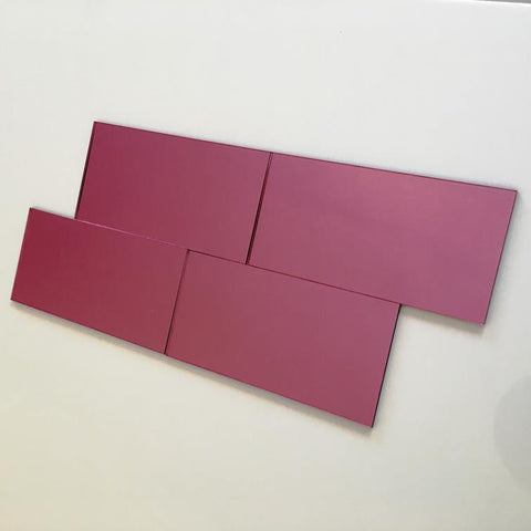Rectangular Tiles - Pink Mirror