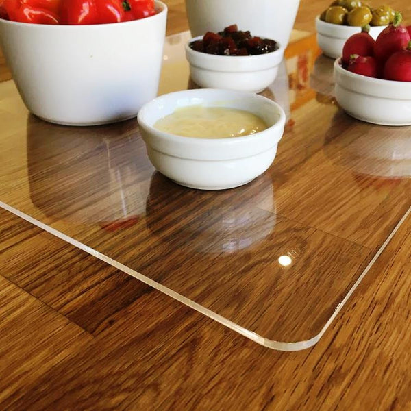 Oval Serving Mat/Table Protector - Blue Gloss