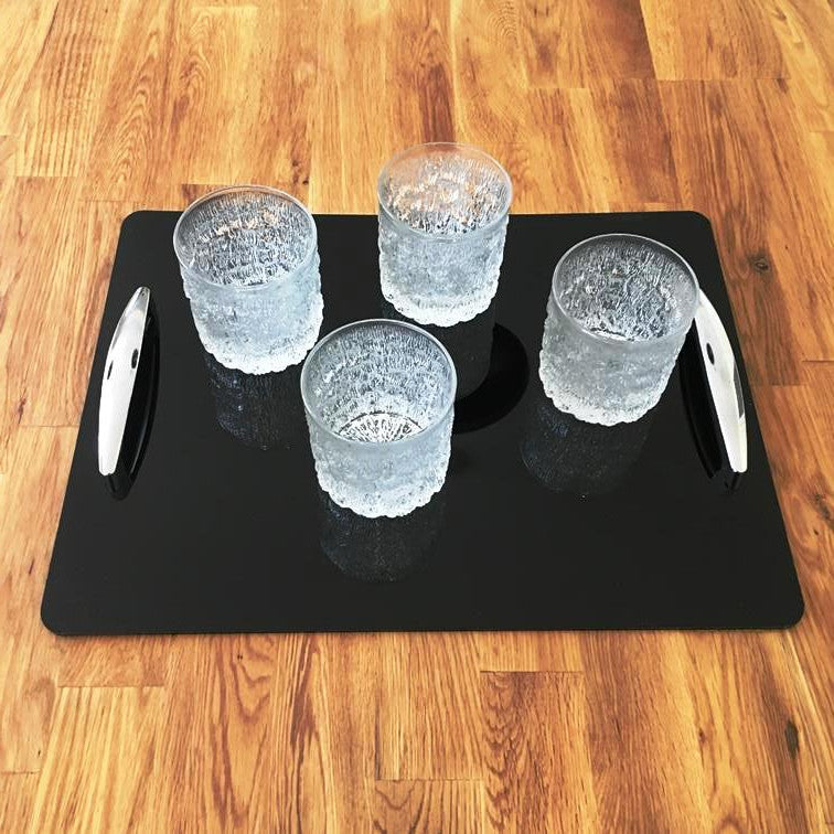 Rectangular Serving Tray with Handle - Black