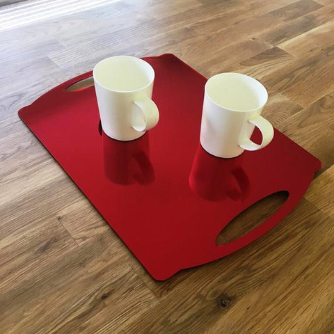 Rectangular Flat Serving Tray - Red Mirror