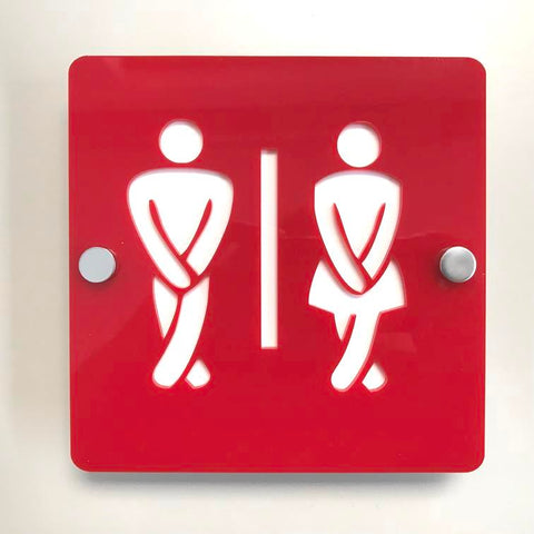 Square Crossed Legged Male & Female Toilet Sign - Red & White Gloss Finish